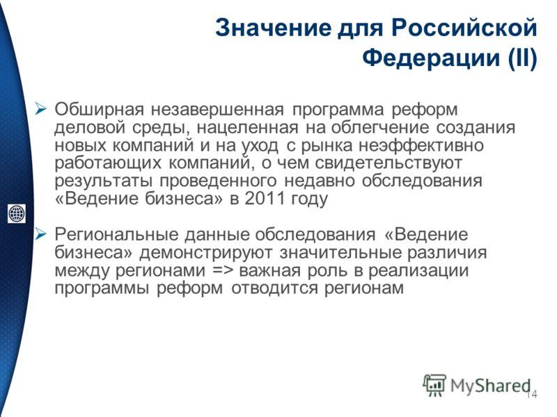 Значение для Российской Федерации (II) Обширная незавершенная программа реформ деловой среды, нацеленная на облегчение создания новых компаний и на уход с рынка неэффективно работающих компаний, о чем свидетельствуют результаты проведенного недавно о