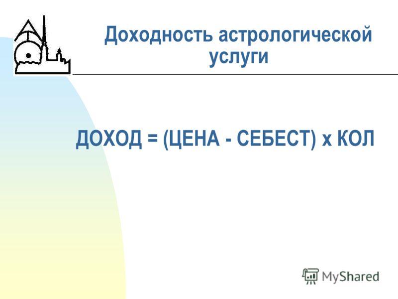 ДОХОД = (ЦЕНА - СЕБЕСТ) х КОЛ Доходность астрологической услуги