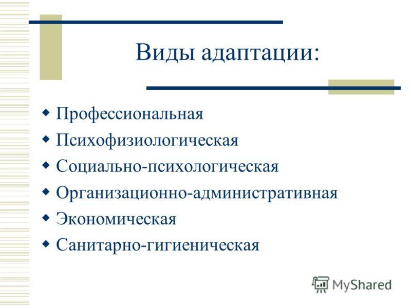 Виды адаптации: Профессиональная Психофизиологическая Социально-психологическая Организационно-административная Экономическая Санитарно-гигиеническая