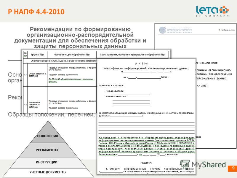информация о компании 9 Р НАПФ 4.4-2010 Рекомендации по формированию организационно-распорядительной документации для обеспечения обработки и защиты персональных данных _________________________________________ Основные принципы формирования организа