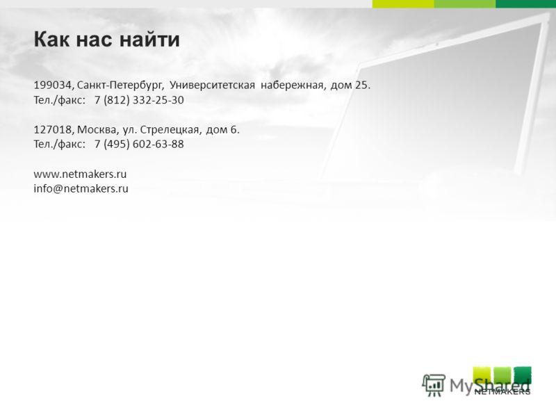 Как нас найти 199034, Санкт-Петербург, Университетская набережная, дом 25. Тел./факс: 7 (812) 332-25-30 127018, Москва, ул. Стрелецкая, дом 6. Тел./факс: 7 (495) 602-63-88 www.netmakers.ru info@netmakers.ru