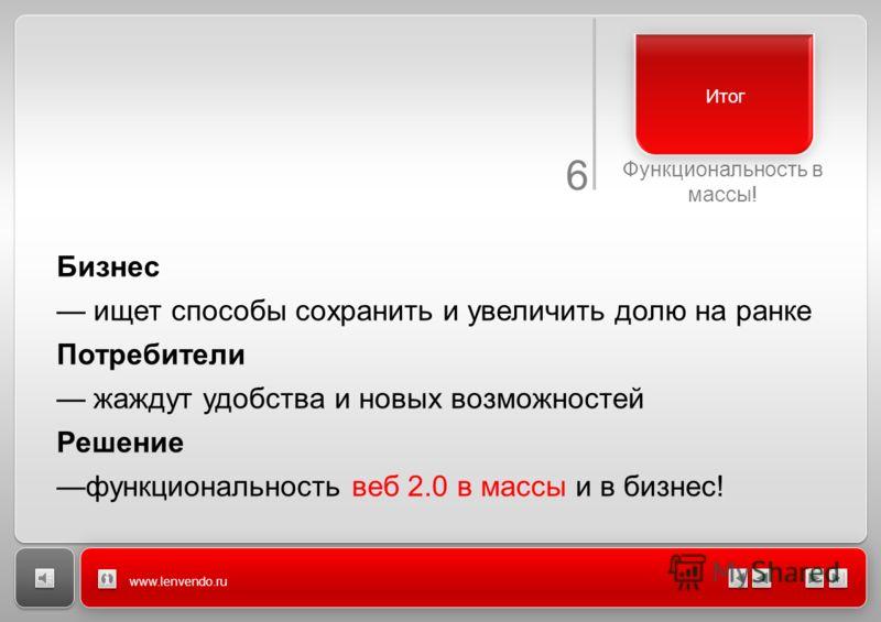 6 Функциональность в массы! www.lenvendo.ru Итог Бизнес ищет способы сохранить и увеличить долю на ранке Потребители жаждут удобства и новых возможностей Решение функциональность веб 2.0 в массы и в бизнес!