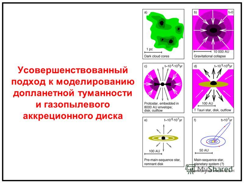 Усовершенствованный подход к моделированию допланетной туманности и газопылевого аккреционного диска
