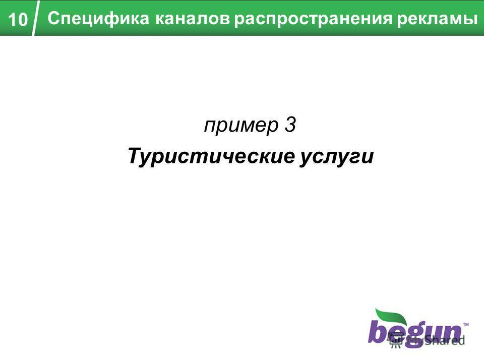 пример 3 Туристические услуги Специфика каналов распространения рекламы 10