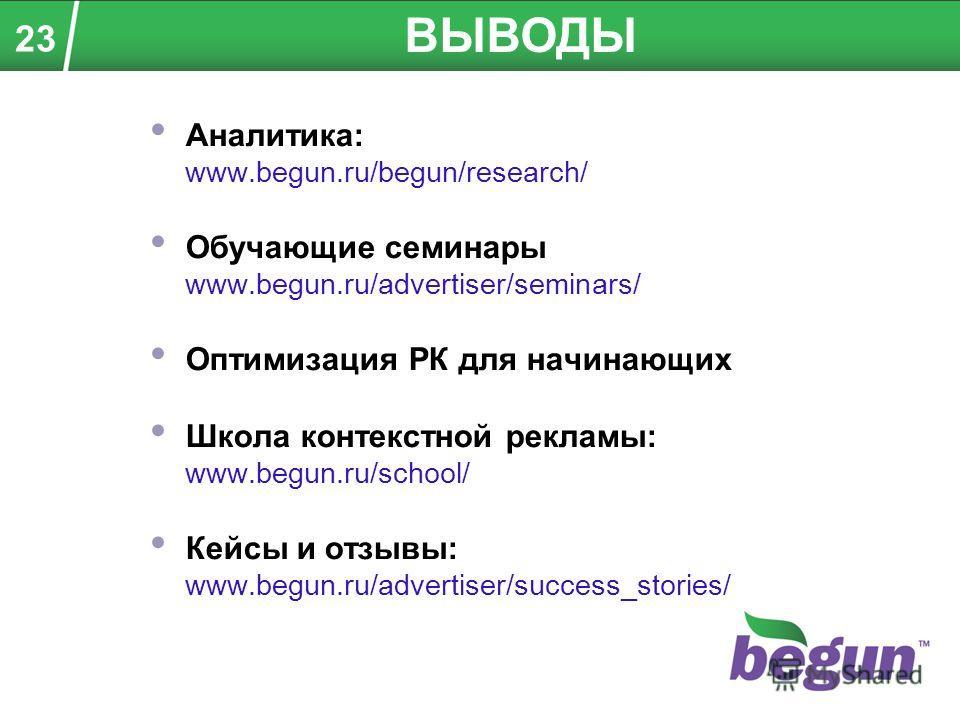 Аналитика: www.begun.ru/begun/research/ Обучающие семинары www.begun.ru/advertiser/seminars/ Оптимизация РК для начинающих Школа контекстной рекламы: www.begun.ru/school/ Кейсы и отзывы: www.begun.ru/advertiser/success_stories/ ВЫВОДЫ 23