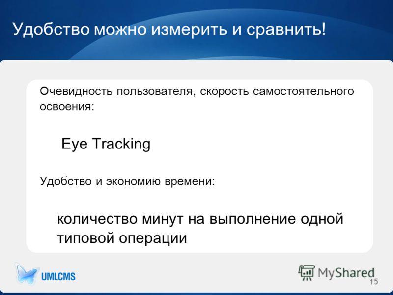 15 Удобство можно измерить и сравнить! Очевидность пользователя, скорость самостоятельного освоения: Eye Tracking Удобство и экономию времени: количество минут на выполнение одной типовой операции