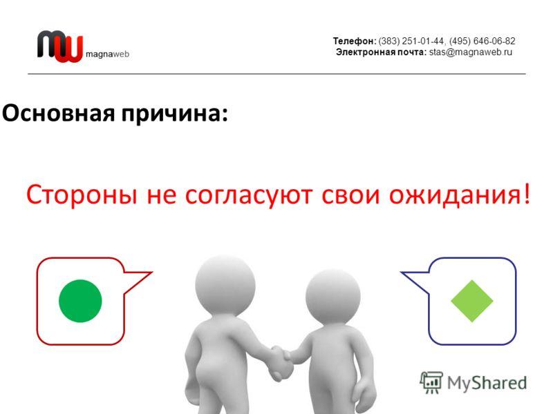 Телефон: (383) 251-01-44, (495) 646-06-82 Электронная почта: stas@magnaweb.ru Основная причина: Стороны не согласуют свои ожидания!