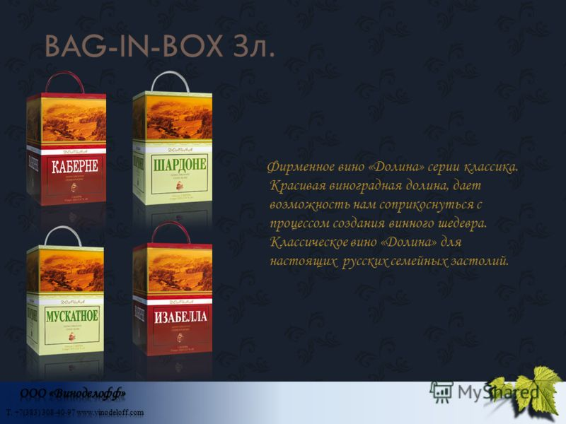 BAG-IN-BOX 3 л. Фирменное вино «Долина» серии классика. Красивая виноградная долина, дает возможность нам соприкоснуться с процессом создания винного шедевра. Классическое вино «Долина» для настоящих русских семейных застолий.