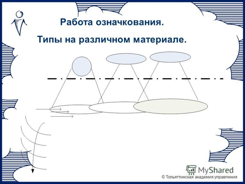 © Тольяттинская академия управления Формы мысли и материал деятельностиРабота означкования. Типы на различном материале.