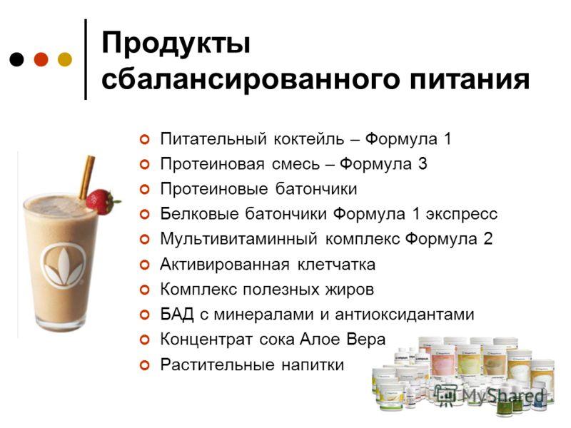 Продукты сбалансированного питания Питательный коктейль – Формула 1 Протеиновая смесь – Формула 3 Протеиновые батончики Белковые батончики Формула 1 экспресс Мультивитаминный комплекс Формула 2 Активированная клетчатка Комплекс полезных жиров БАД с м