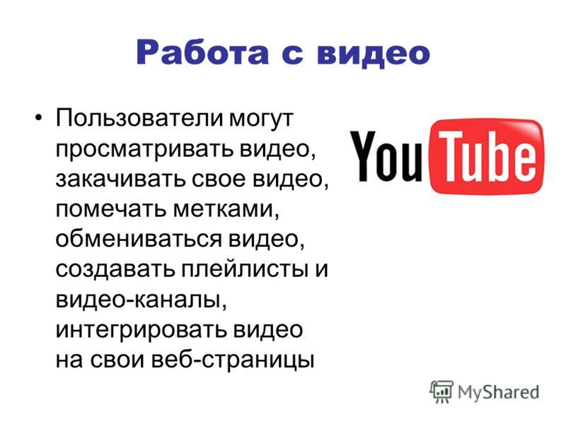 Работа с видео Пользователи могут просматривать видео, закачивать свое видео, помечать метками, обмениваться видео, создавать плейлисты и видео-каналы, интегрировать видео на свои веб-страницы