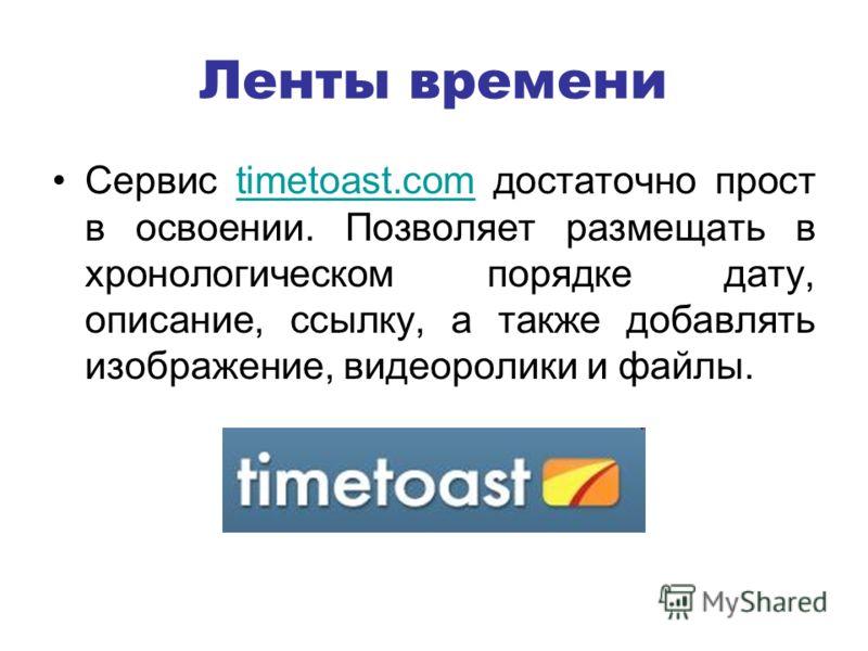 Ленты времени Сервис timetoast.com достаточно прост в освоении. Позволяет размещать в хронологическом порядке дату, описание, ссылку, а также добавлять изображение, видеоролики и файлы.timetoast.com