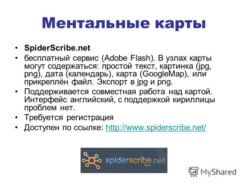 Ментальные карты SpiderScribe.net бесплатный сервис (Adobe Flash). В узлах карты могут содержаться: простой текст, картинка (jpg, png), дата (календарь), карта (GoogleMap), или прикреплён файл. Экспорт в jpg и png. Поддерживается совместная работа на