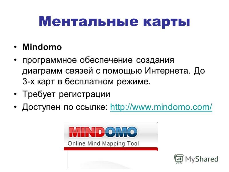 Ментальные карты Mindomo программное обеспечение создания диаграмм связей с помощью Интернета. До 3-х карт в бесплатном режиме. Требует регистрации Доступен по ссылке: http://www.mindomo.com/http://www.mindomo.com/