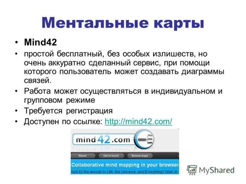 Ментальные карты Mind42 простой бесплатный, без особых излишеств, но очень аккуратно сделанный сервис, при помощи которого пользователь может создавать диаграммы связей. Работа может осуществляться в индивидуальном и групповом режиме Требуется регист