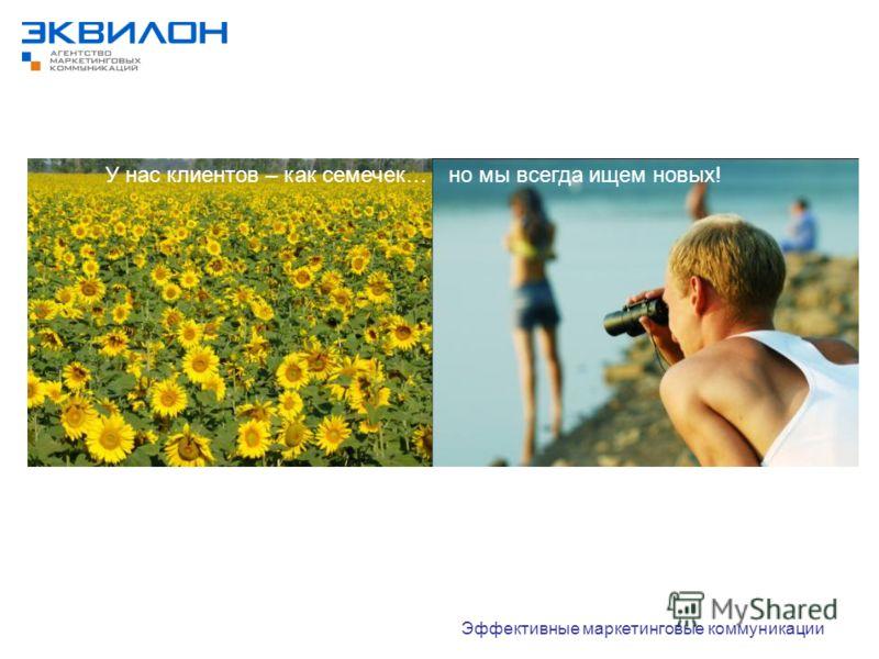 У нас клиентов – как семечек… Эффективные маркетинговые коммуникации но мы всегда ищем новых!