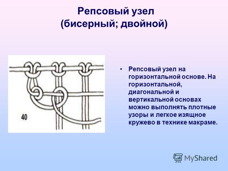 Репсовый узел (бисерный; двойной) Репсовый узел на горизонтальной основе. На горизонтальной, диагональной и вертикальной основах можно выполнять плотные узоры и легкое изящное кружево в технике макраме.