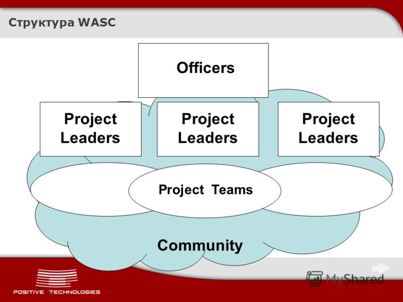 Структура WASC Officers Project Leaders Project Teams Community