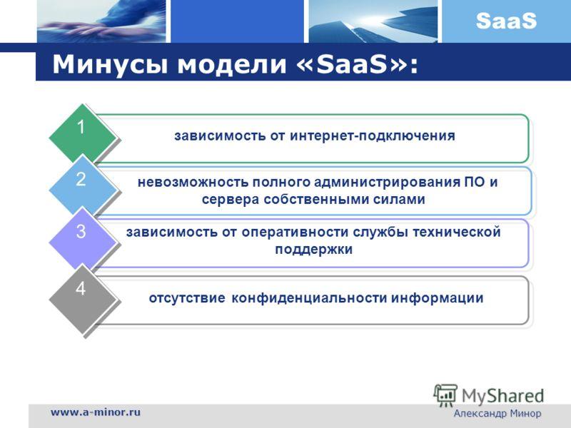 SaaS www.a-minor.ru Александр Минор Минусы модели «SaaS»: зависимость от интернет-подключения 1 невозможность полного администрирования ПО и сервера собственными силами 2 зависимость от оперативности службы технической поддержки 3 отсутствие конфиден