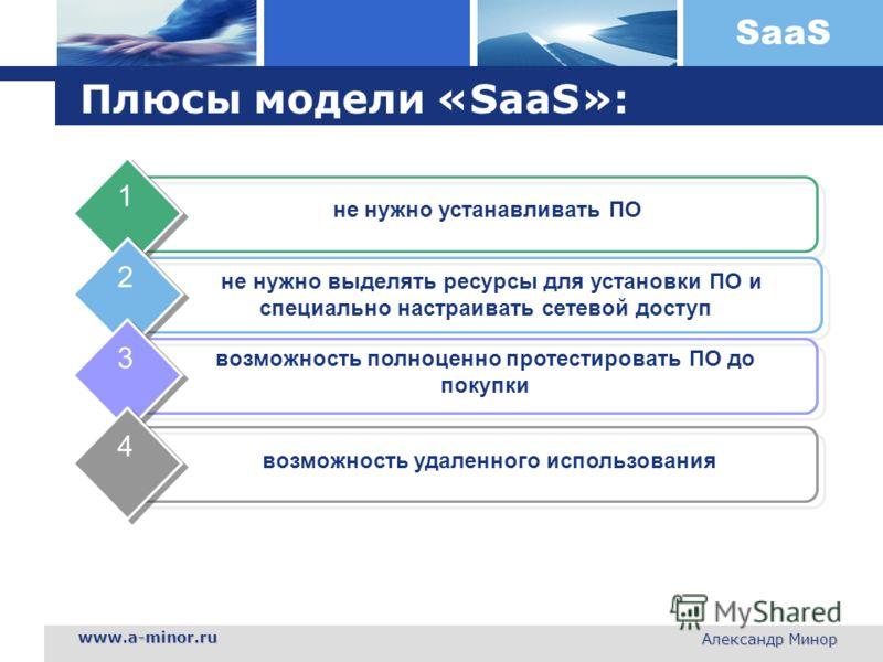 SaaS www.a-minor.ru Александр Минор Плюсы модели «SaaS»: не нужно устанавливать ПО 1 не нужно выделять ресурсы для установки ПО и специально настраивать сетевой доступ 2 возможность полноценно протестировать ПО до покупки 3 возможность удаленного исп