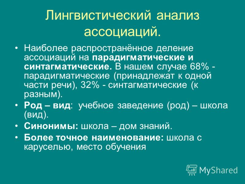 Лингвистический анализ ассоциаций. Наиболее распространённое деление ассоциаций на парадигматические и синтагматические. В нашем случае 68% - парадигматические (принадлежат к одной части речи), 32% - синтагматические (к разным). Род – вид: учебное за