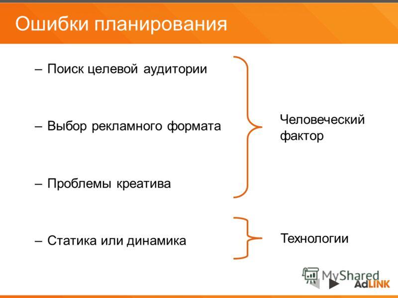 Ошибки планирования –Поиск целевой аудитории –Выбор рекламного формата –Проблемы креатива –Статика или динамика Человеческий фактор Технологии