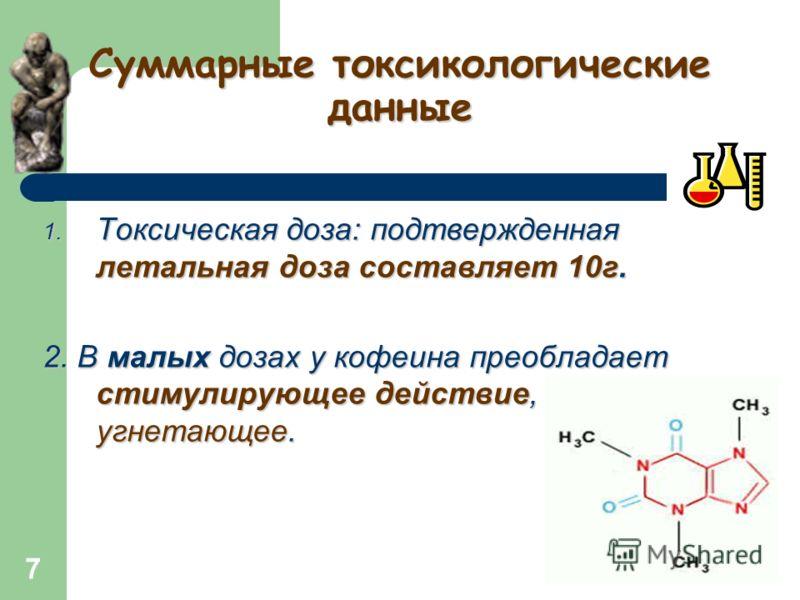 6 Физические свойства кофеина Форма кристаллов : гексагональные призмы (после сублимации), тонкие иглы, содержит 8.5% H2O. Выветривается на воздухе. Полная дегидратация происходит при 80оC; Температура плавления 238оC; Сублимируется Сублимируется при