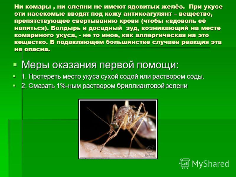 Ни комары, ни слепни не имеют ядовитых желёз. При укусе эти насекомые вводят под кожу антикоагулянт – вещество, препятствующее свертыванию крови (чтобы «вдоволь её напиться). Волдырь и досадный зуд, возникающий на месте комариного укуса, - не то иное