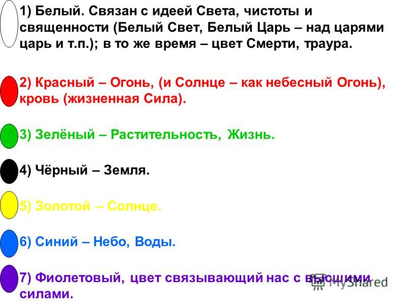 1) Белый. Связан с идеей Света, чистоты и священности (Белый Свет, Белый Царь – над царями царь и т.п.); в то же время – цвет Смерти, траура. 2) Красный – Огонь, (и Солнце – как небесный Огонь), кровь (жизненная Сила). 3) Зелёный – Растительность, Жи