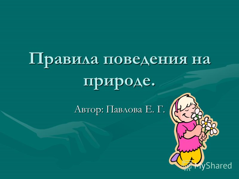 Правила поведения на природе. Автор: Павлова Е. Г.