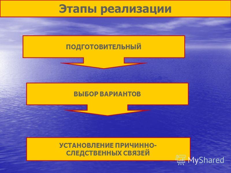 Этапы реализации ПОДГОТОВИТЕЛЬНЫЙ ВЫБОР ВАРИАНТОВ УСТАНОВЛЕНИЕ ПРИЧИННО- СЛЕДСТВЕННЫХ СВЯЗЕЙ