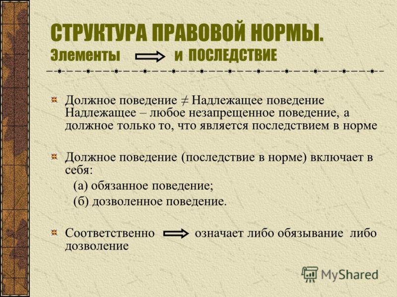 СТРУКТУРА ПРАВОВОЙ НОРМЫ. Элементы и ПОСЛЕДСТВИЕ Должное поведение Надлежащее поведение Надлежащее – любое незапрещенное поведение, а должное только то, что является последствием в норме Должное поведение (последствие в норме) включает в себя: (а) об
