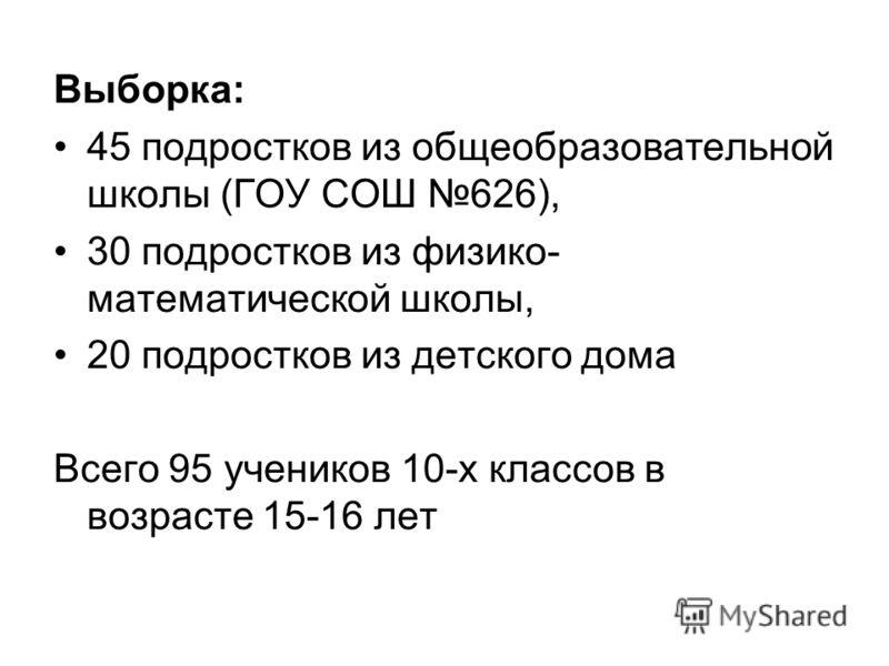Выборка: 45 подростков из общеобразовательной школы (ГОУ СОШ 626), 30 подростков из физико- математической школы, 20 подростков из детского дома Всего 95 учеников 10-х классов в возрасте 15-16 лет