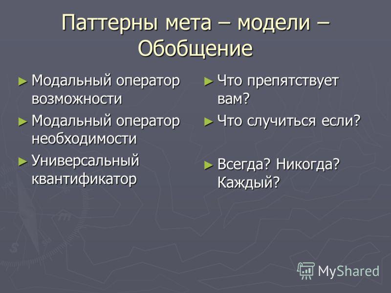 Паттерны мета – модели – Обобщение Модальный оператор возможности Модальный оператор возможности Модальный оператор необходимости Модальный оператор необходимости Универсальный квантификатор Универсальный квантификатор Что препятствует вам? Что случи