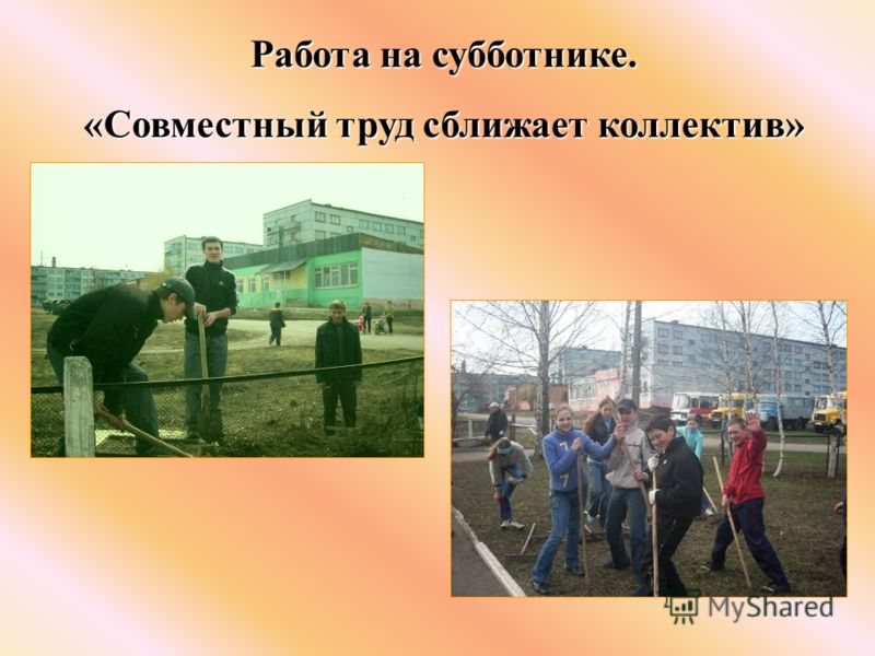 Работа на субботнике. «Совместный труд сближает коллектив»