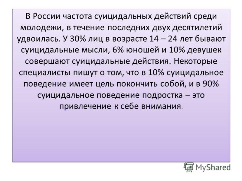 В России частота суицидальных действий среди молодежи, в течение последних двух десятилетий удвоилась. У 30% лиц в возрасте 14 – 24 лет бывают суицидальные мысли, 6% юношей и 10% девушек совершают суицидальные действия. Некоторые специалисты пишут о