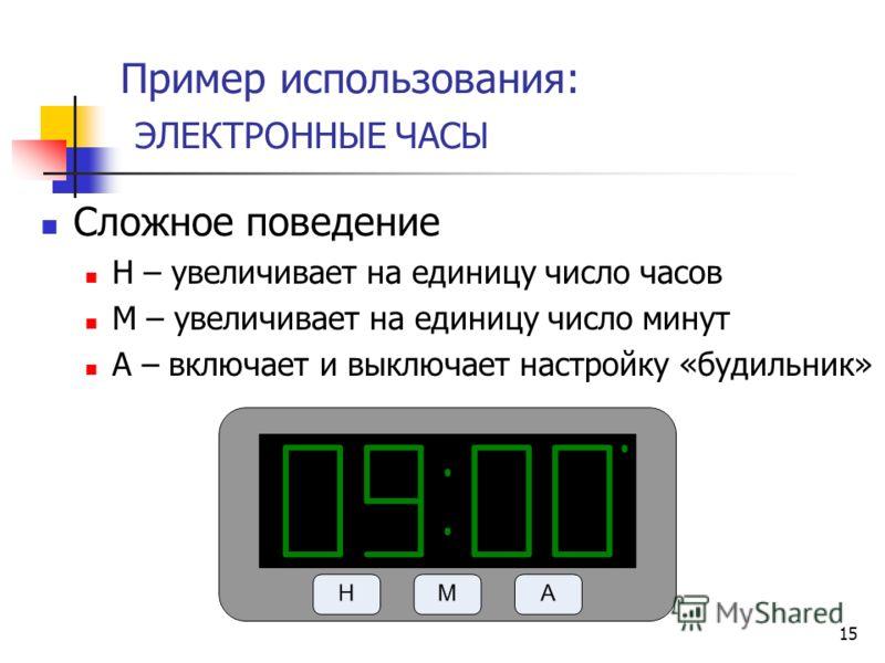 15 Пример использования: ЭЛЕКТРОННЫЕ ЧАСЫ Сложное поведение H – увеличивает на единицу число часов M – увеличивает на единицу число минут A – включает и выключает настройку «будильник»