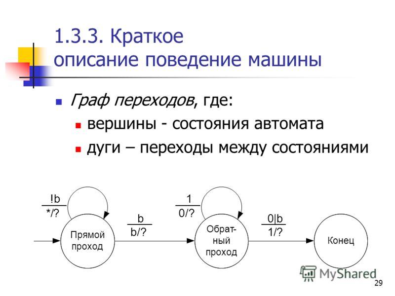 29 1.3.3. Краткое описание поведение машины Граф переходов, где: вершины - состояния автомата дуги – переходы между состояниями Прямой проход Обрат- ный проход !b */? b b/? 1 0/? 0|b 1/? Конец