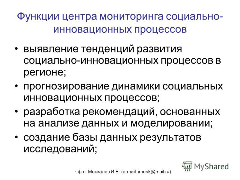 к.ф.н. Москалев И.Е. (e-mail: imosk@mail.ru) Функции центра мониторинга социально- инновационных процессов выявление тенденций развития социально-инновационных процессов в регионе; прогнозирование динамики социальных инновационных процессов; разработ