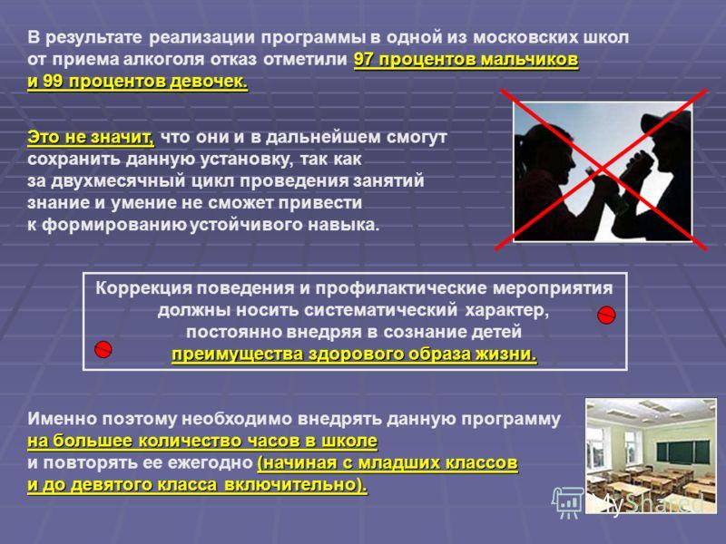 97 процентов мальчиков и 99 процентов девочек. В результате реализации программы в одной из московских школ от приема алкоголя отказ отметили 97 процентов мальчиков и 99 процентов девочек. Это не значит, Это не значит, что они и в дальнейшем смогут с
