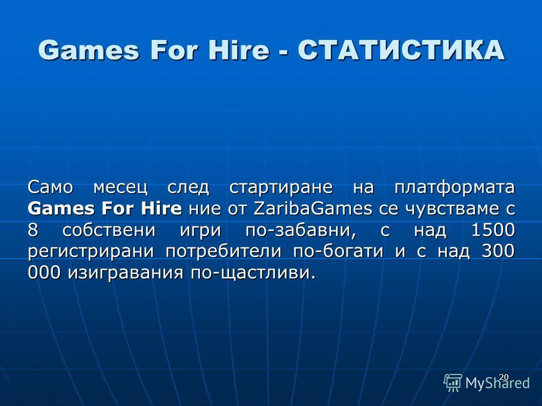 20 Games For Hire - СТАТИСТИКА Само месец след стартиране на платформата Games For Hire ние от ZaribaGames се чувстваме с 8 собствени игри по-забавни, с над 1500 регистрирани потребители по-богати и с над 300 000 изигравания по-щастливи.