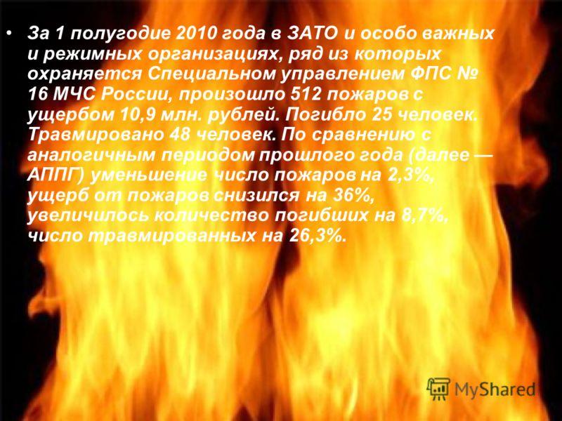 За 1 полугодие 2010 года в ЗАТО и особо важных и режимных организациях, ряд из которых охраняется Специальном управлением ФПС 16 МЧС России, произошло 512 пожаров с ущербом 10,9 млн. рублей. Погибло 25 человек. Травмировано 48 человек. По сравнению с