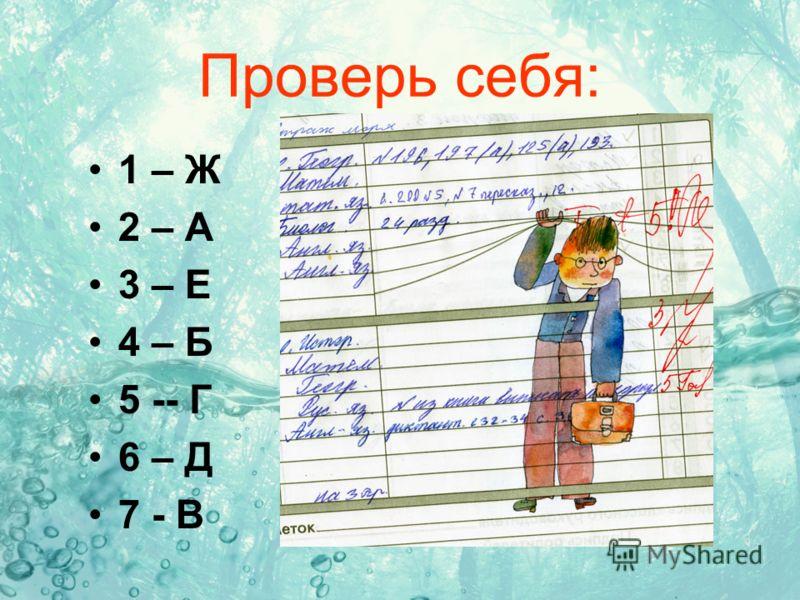 Проверь себя: 1 – Ж 2 – А 3 – Е 4 – Б 5 -- Г 6 – Д 7 - В