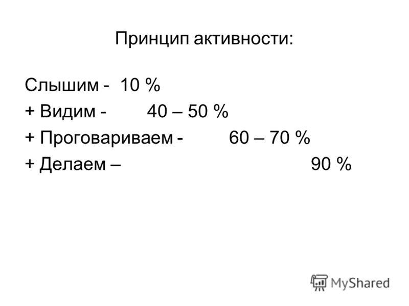 Принцип активности: Слышим - 10 % +Видим -40 – 50 % +Проговариваем -60 – 70 % +Делаем – 90 %