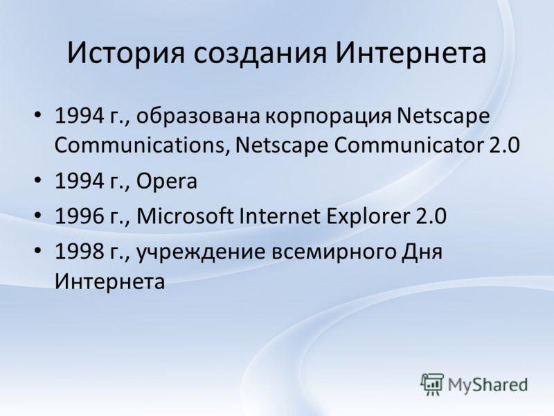 История создания Интернета 1994 г., образована корпорация Netscape Communications, Netscape Communicator 2.0 1994 г., Opera 1996 г., Microsoft Internet Explorer 2.0 1998 г., учреждение всемирного Дня Интернета