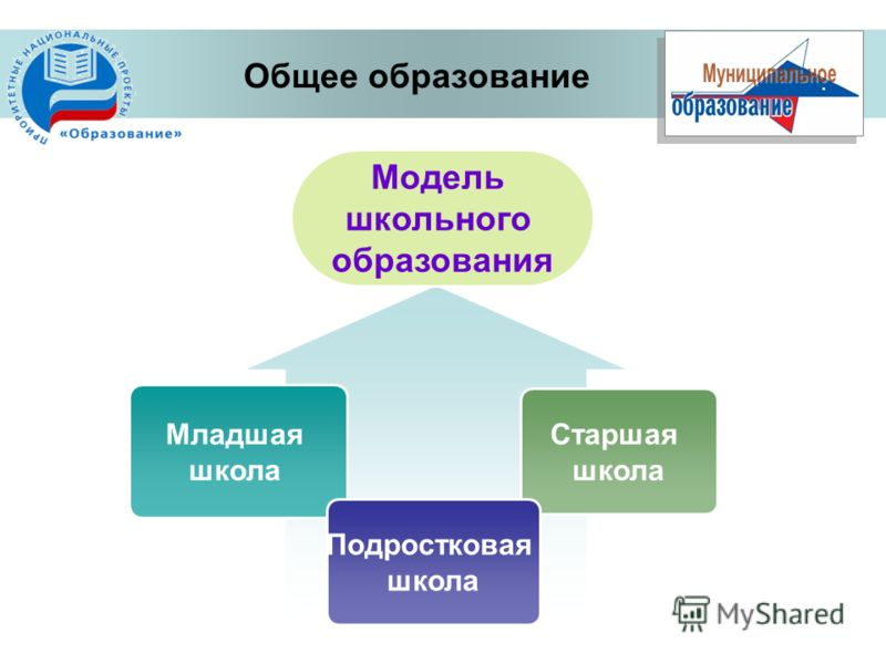 Общее образование Старшая школа Младшая школа Подростковая школа Модель школьного образования