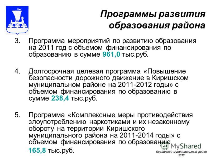 Программы развития образования района 3.Программа мероприятий по развитию образования на 2011 год с объемом финансирования по образованию в сумме 961,0 тыс.руб. 4.Долгосрочная целевая программа «Повышение безопасности дорожного движение в Киришском м