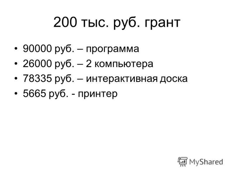 200 тыс. руб. грант 90000 руб. – программа 26000 руб. – 2 компьютера 78335 руб. – интерактивная доска 5665 руб. - принтер