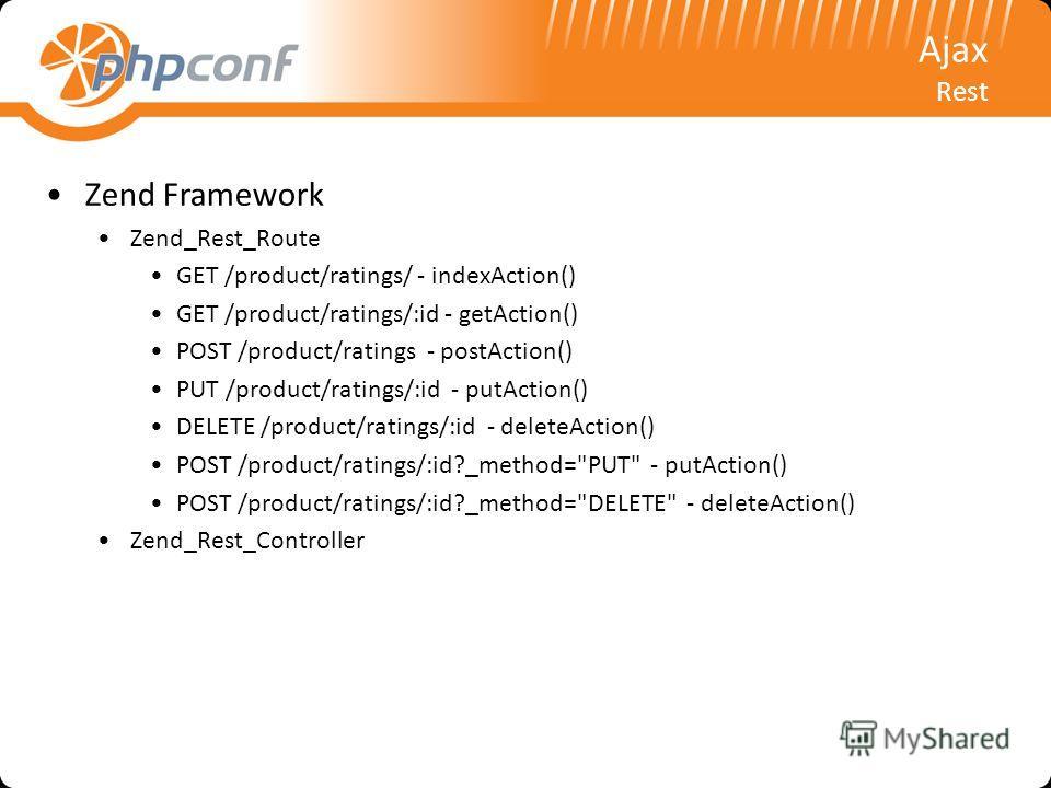Ajax Rest Zend Framework Zend_Rest_Route GET /product/ratings/ - indexAction() GET /product/ratings/:id - getAction() POST /product/ratings - postAction() PUT /product/ratings/:id - putAction() DELETE /product/ratings/:id - deleteAction() POST /produ