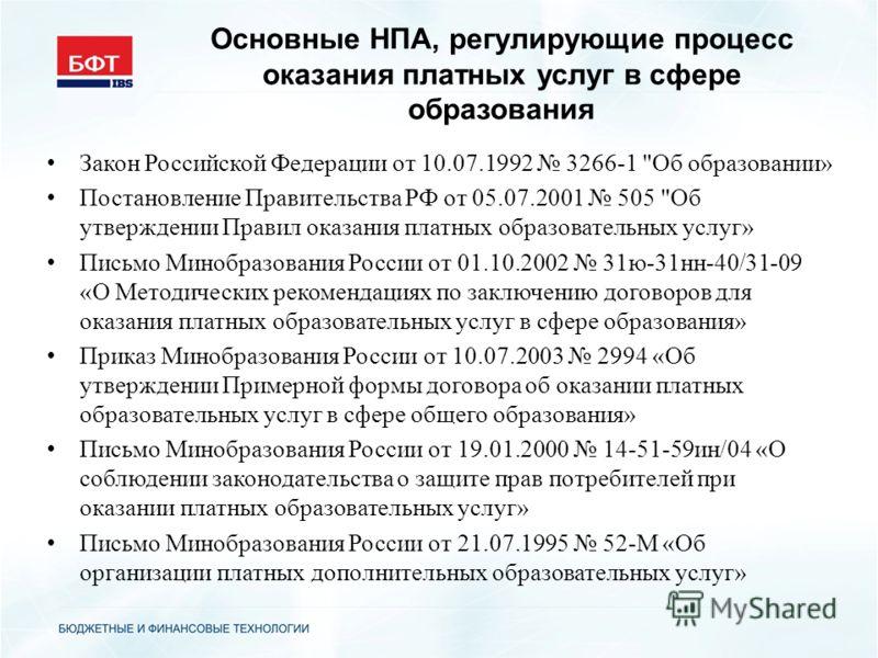 Основные НПА, регулирующие процесс оказания платных услуг в сфере образования Закон Российской Федерации от 10.07.1992 3266-1
